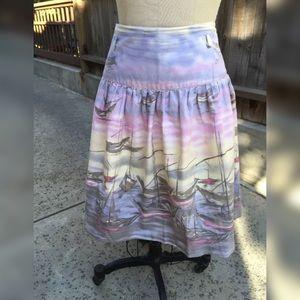 ☀️ANTHROPOLOGIE ODILLE Sailboat Sunset Skirt